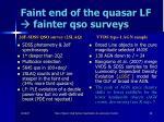 faint end of the quasar lf fainter qso surveys