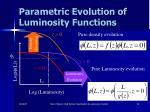 parametric evolution of luminosity functions