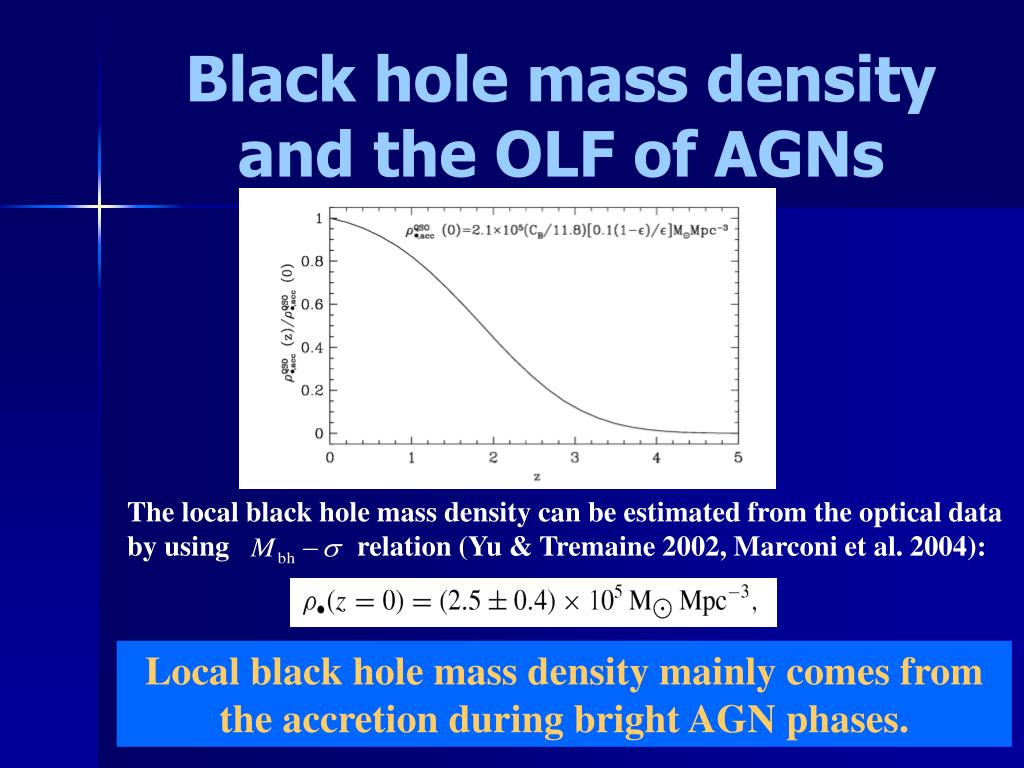 The local black hole mass density can be estimated from the optical data by using                  relation (Yu & Tremaine 2002, Marconi et al. 2004):