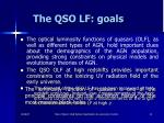 the qso lf goals