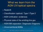 what we learn from the agn uv optical spectra