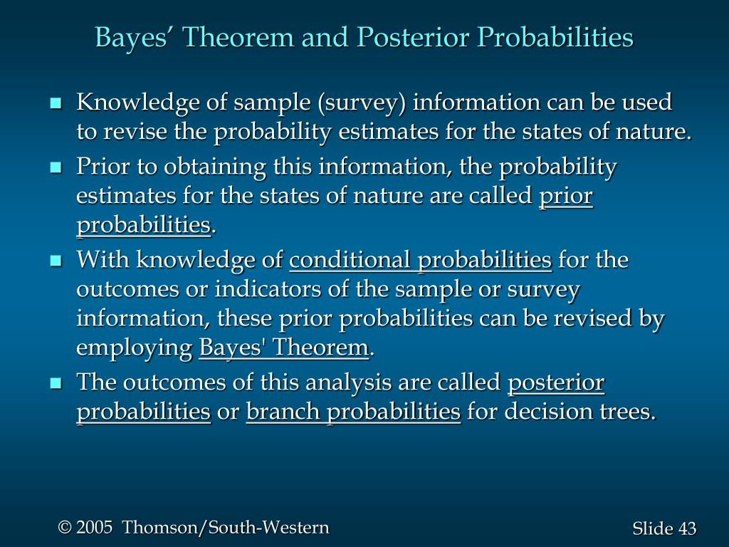 Bayes' Theorem and Posterior Probabilities