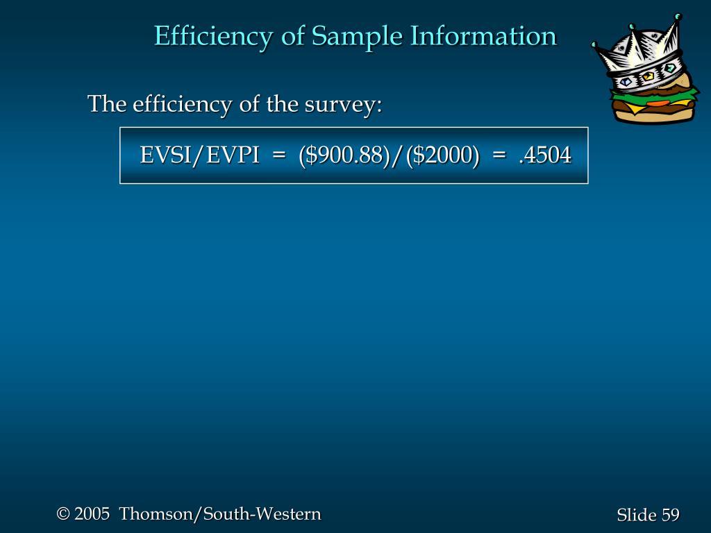 Efficiency of Sample Information