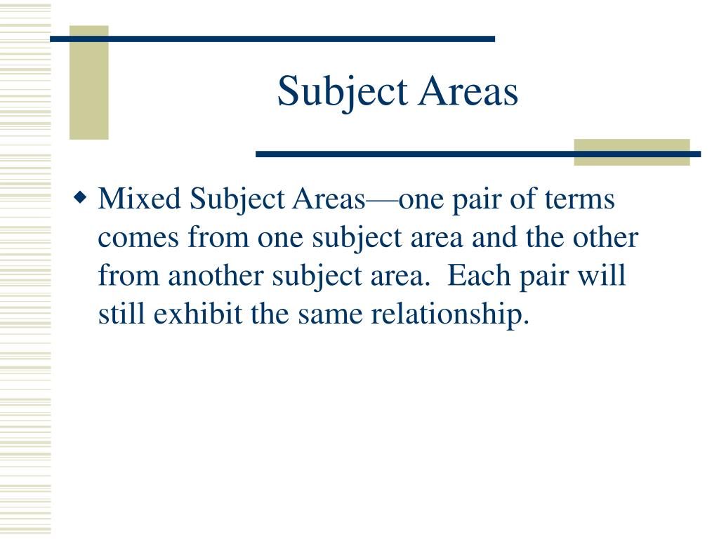 Subject Areas