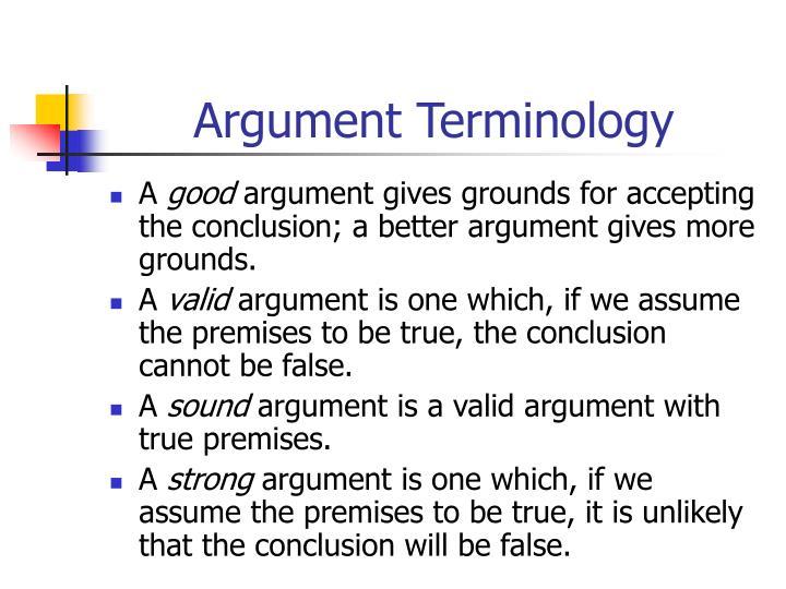 Argument Terminology