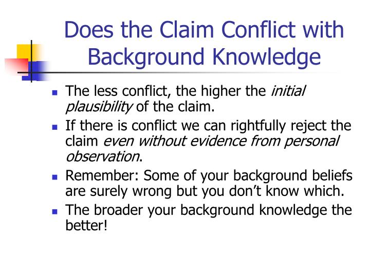Does the Claim Conflict with Background Knowledge