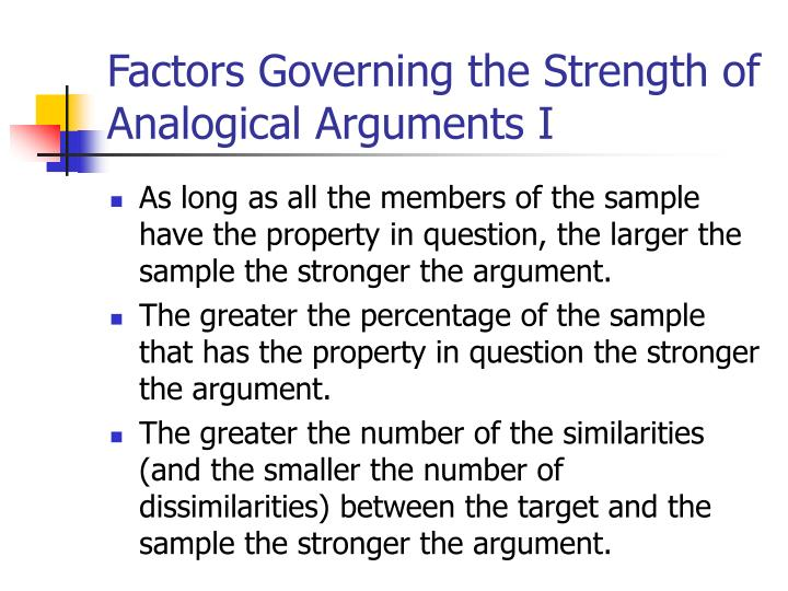 Factors Governing the Strength of Analogical Arguments I