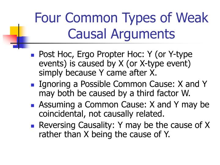 Four Common Types of Weak Causal Arguments