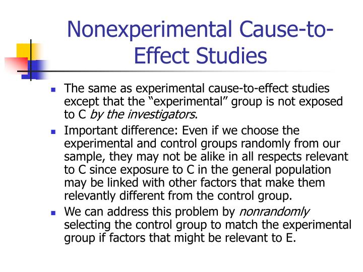 Nonexperimental Cause-to-Effect Studies