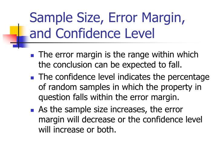Sample Size, Error Margin, and Confidence Level