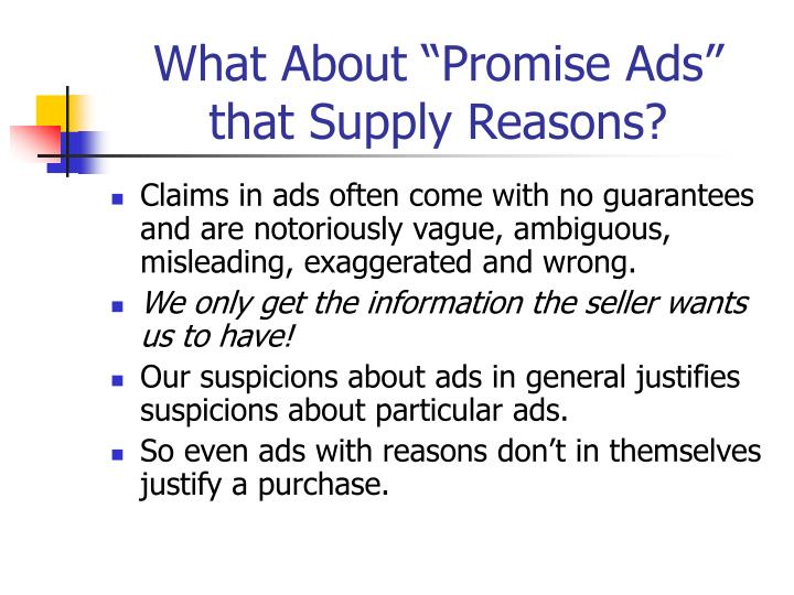 """What About """"Promise Ads"""" that Supply Reasons?"""