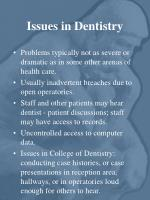 issues in dentistry