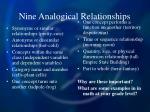 nine analogical relationships