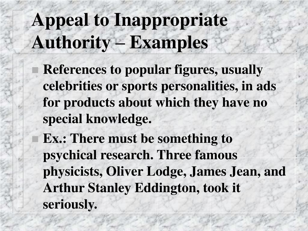 Appeal to Inappropriate Authority – Examples
