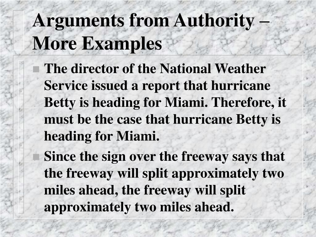 Arguments from Authority – More Examples