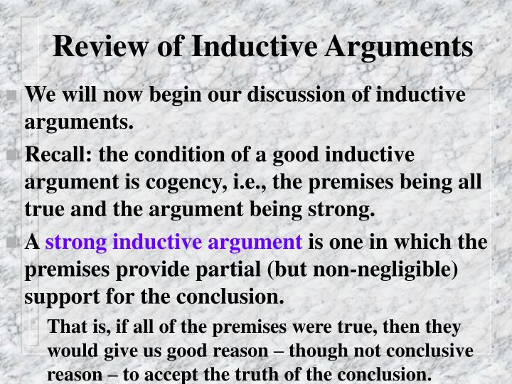 Review of inductive arguments