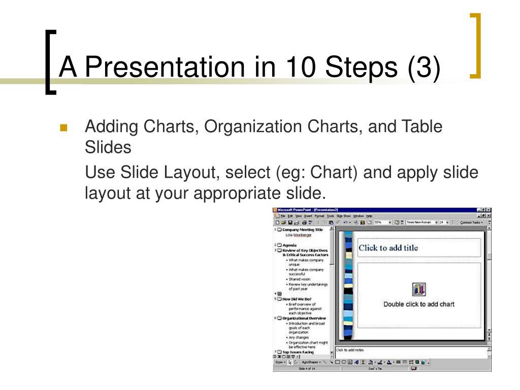 A Presentation in 10 Steps (3)