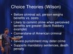 choice theories wilson