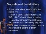 motivation of serial killers