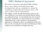mill s method of agreement