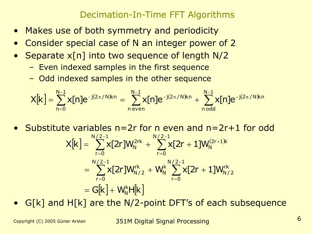 Decimation-In-Time FFT Algorithms