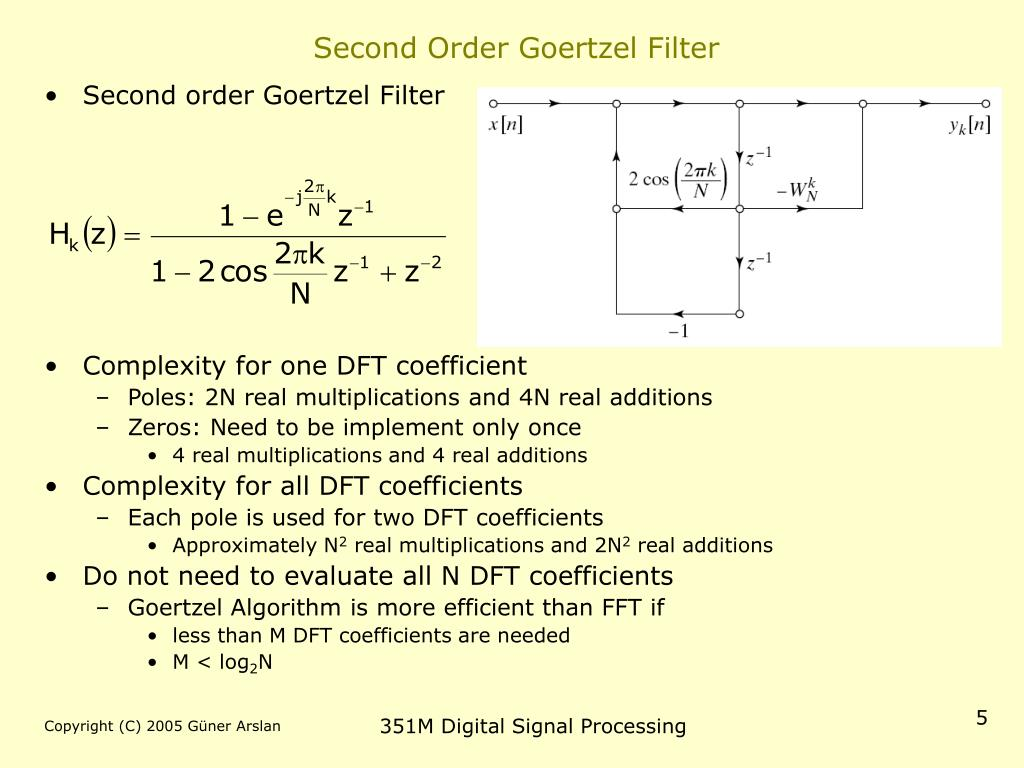 Second Order Goertzel Filter