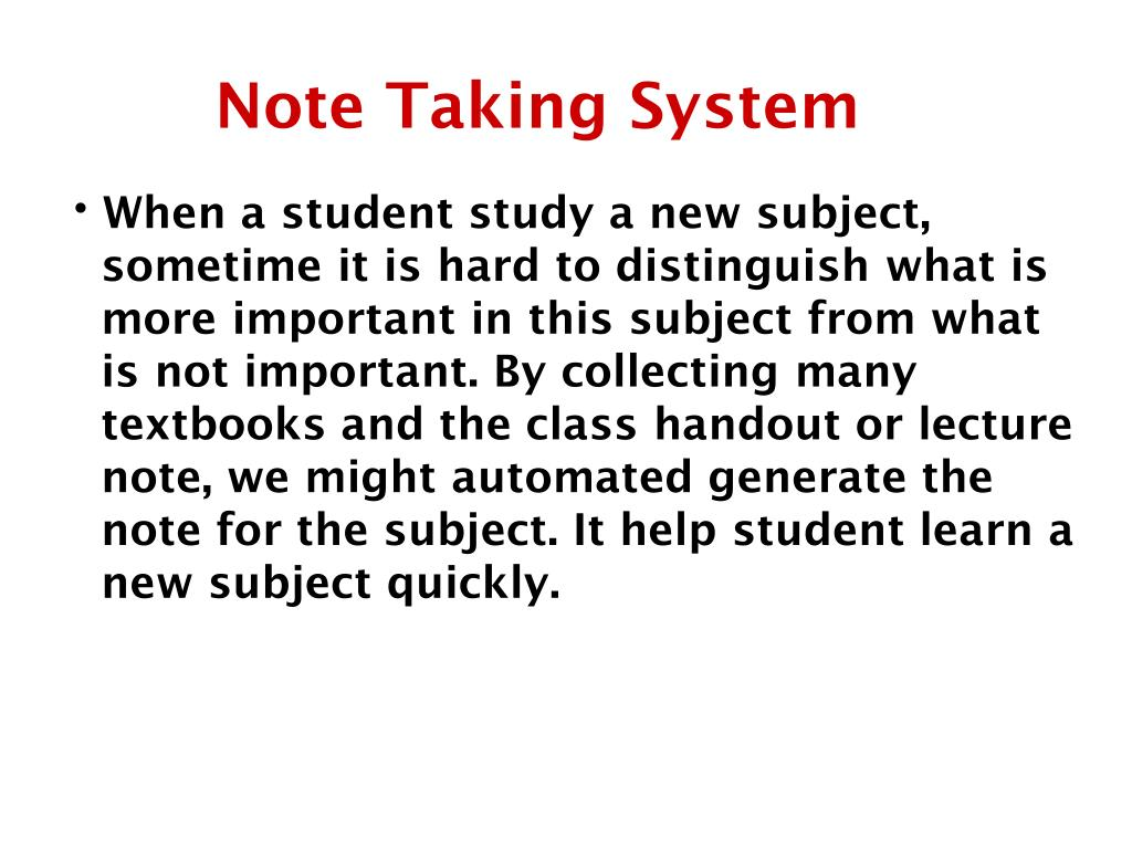 Note Taking System