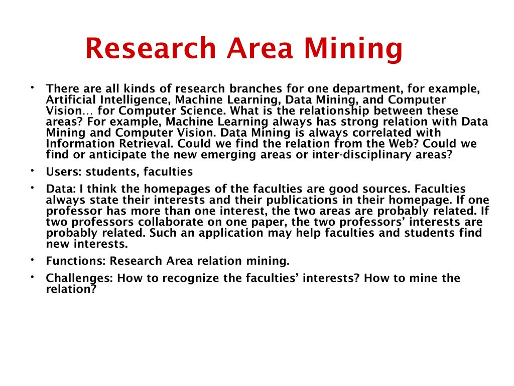 Research Area Mining