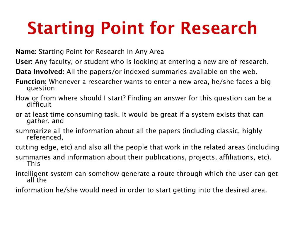 Starting Point for Research