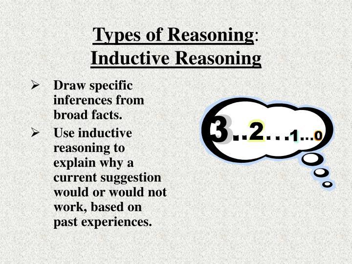Types of reasoning inductive reasoning