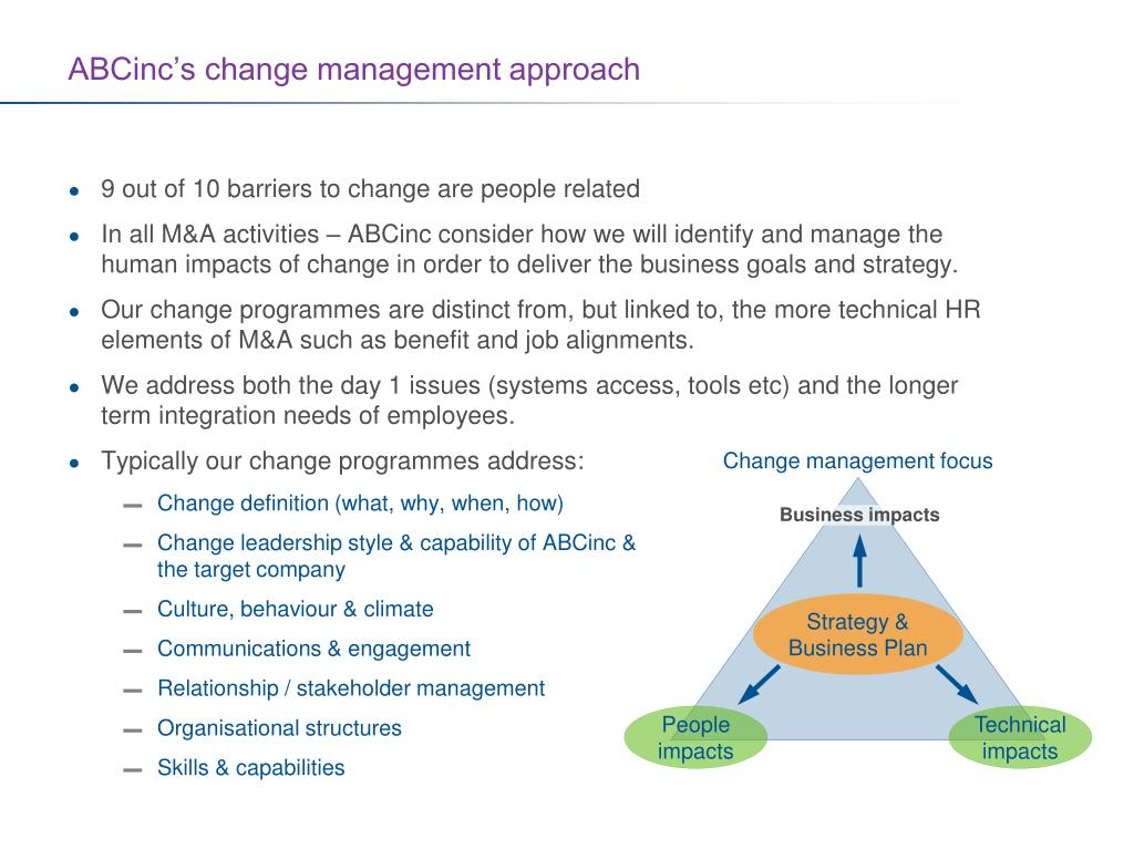 Change management focus