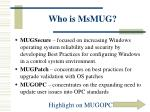 who is msmug