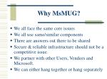 why msmug