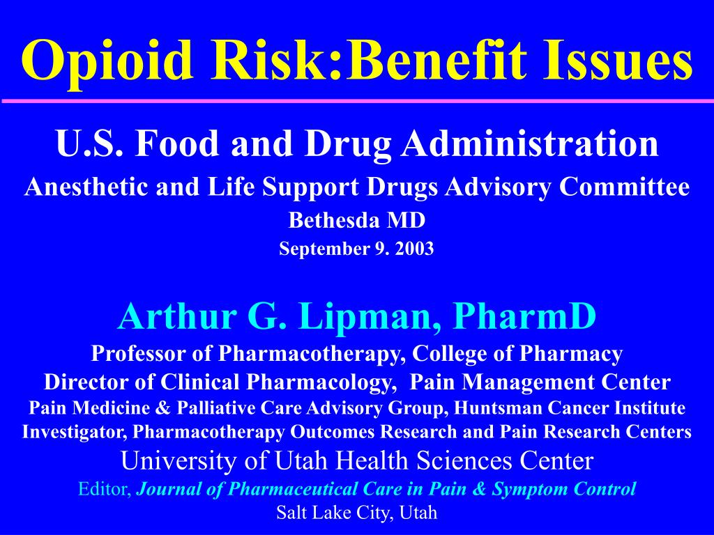 opioid risk benefit issues