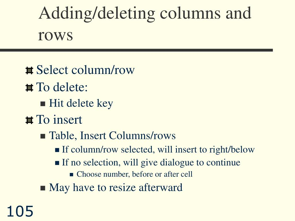Adding/deleting columns and rows