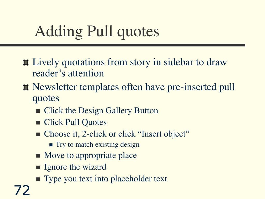 Adding Pull quotes