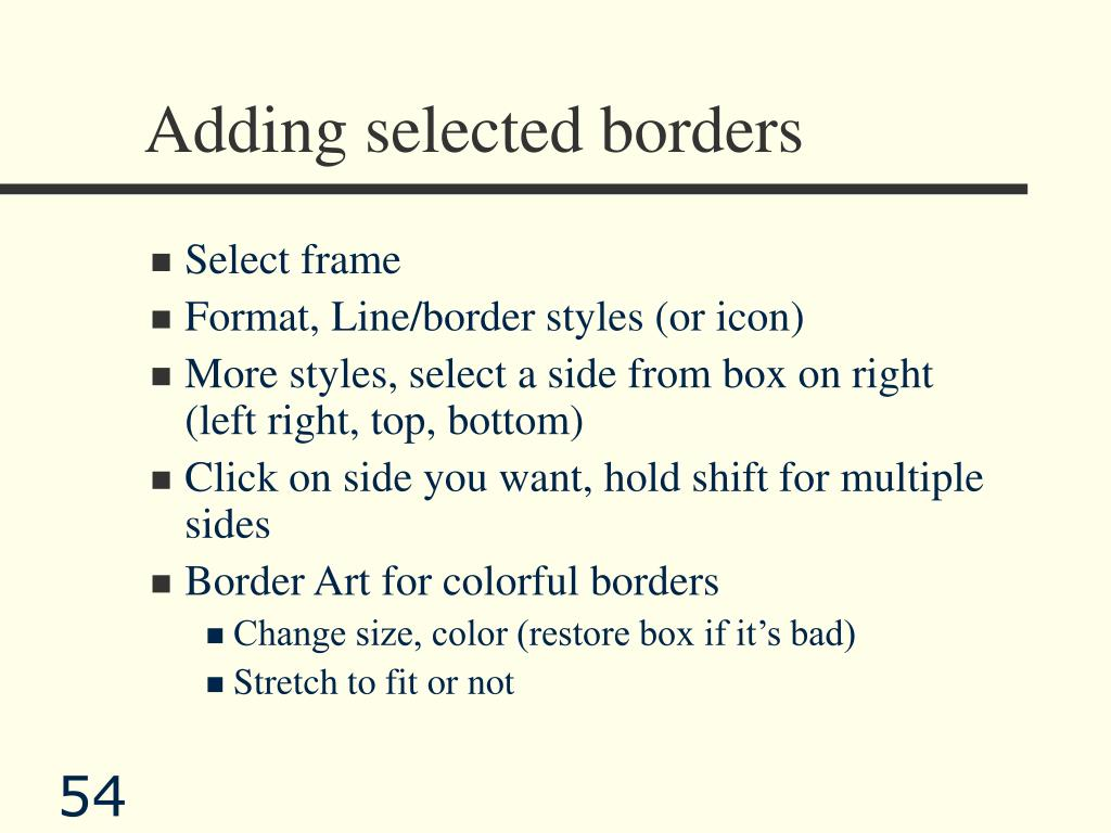 Adding selected borders