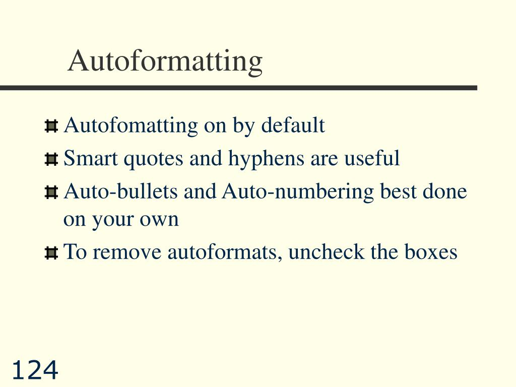 Autoformatting