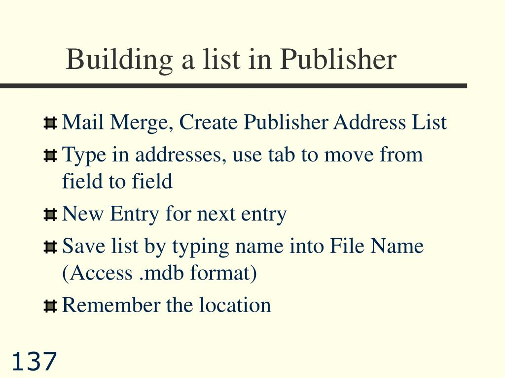 Building a list in Publisher