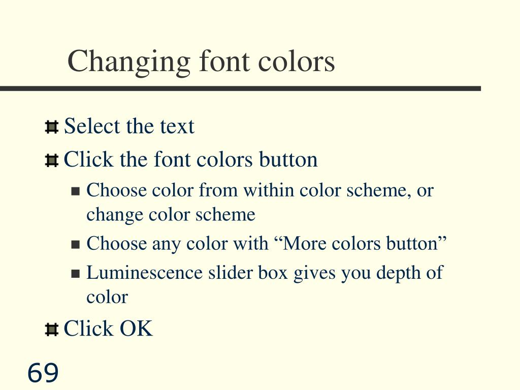 Changing font colors