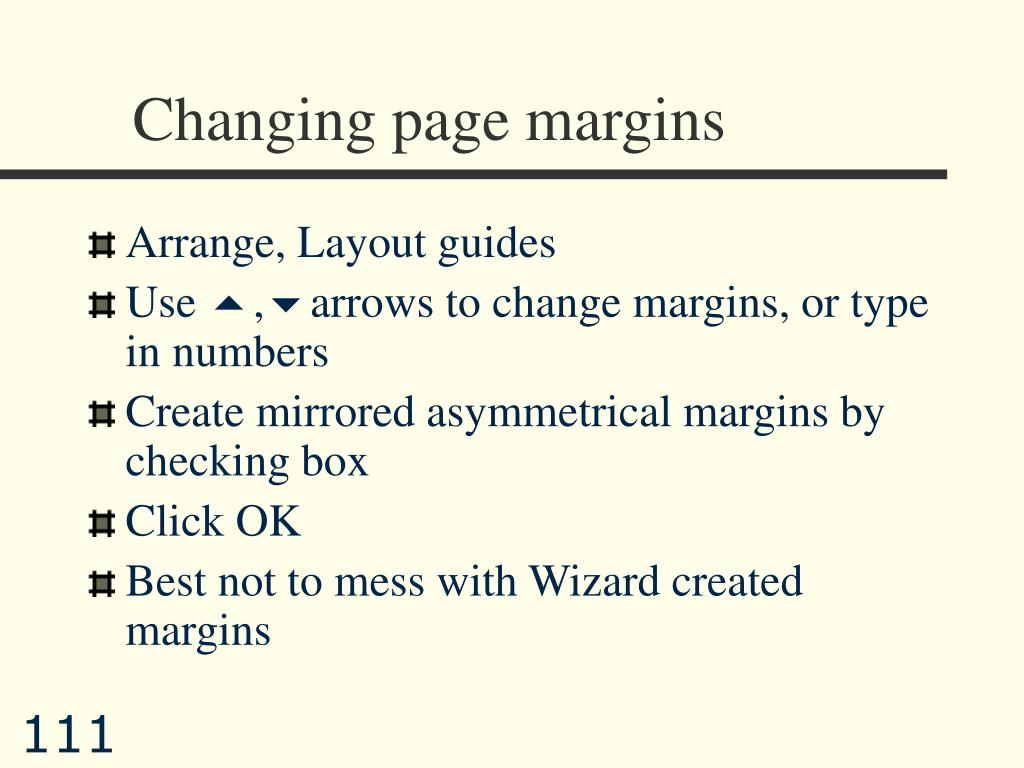 Changing page margins