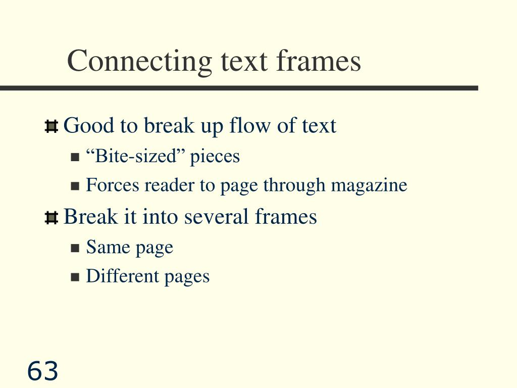Connecting text frames