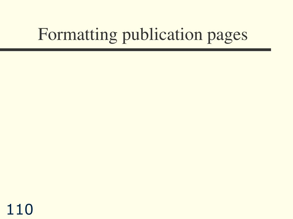 Formatting publication pages