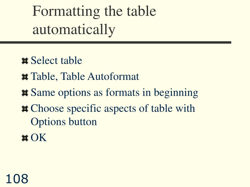 Formatting the table automatically