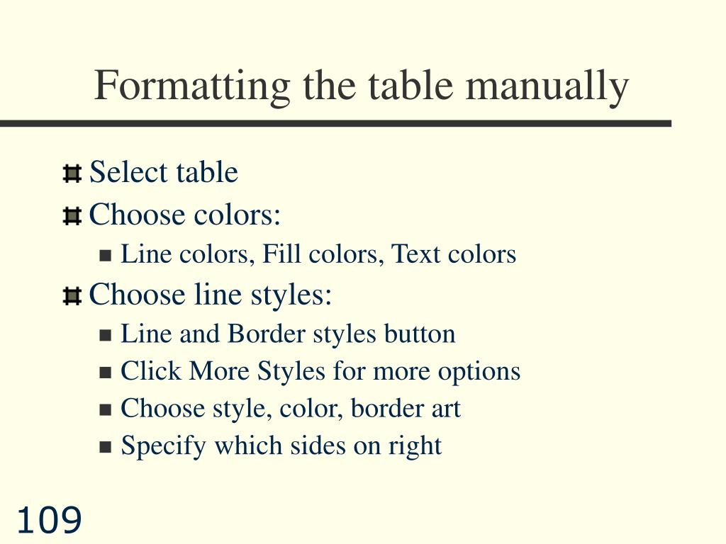 Formatting the table manually