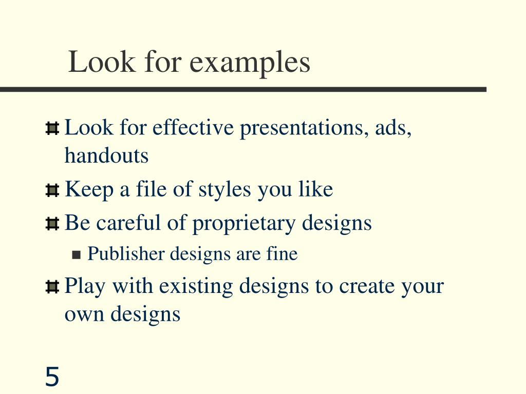 Look for examples