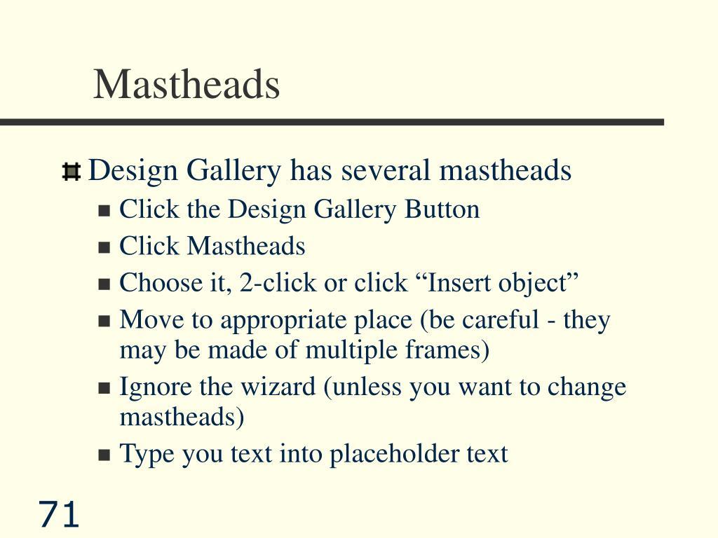 Mastheads