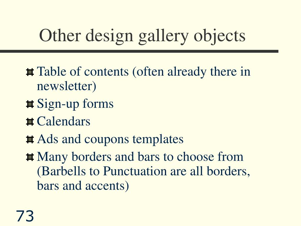Other design gallery objects