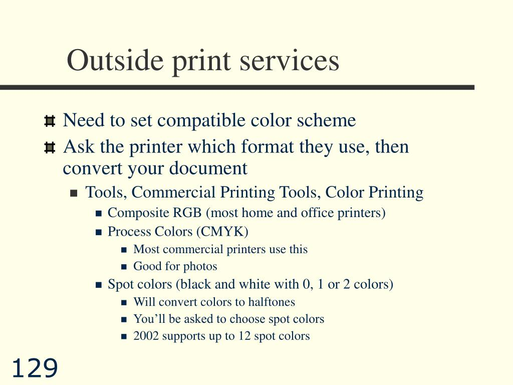 Outside print services