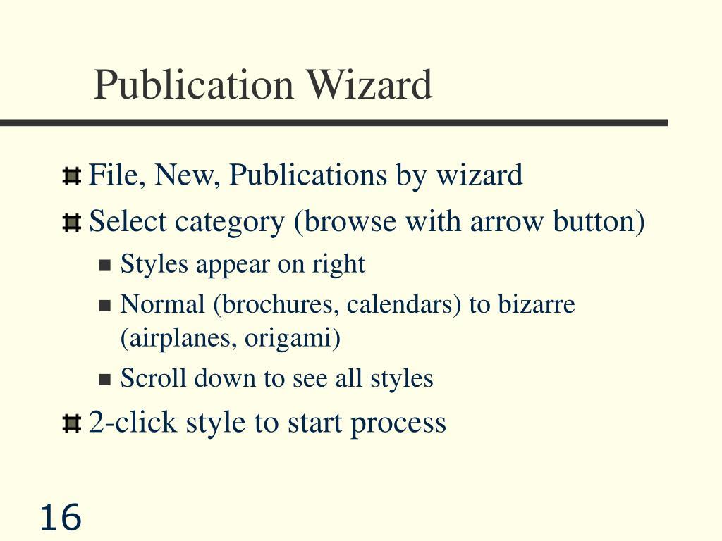Publication Wizard